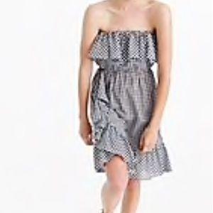 NWT J. Crew Gingham Strapless Dress Size XL